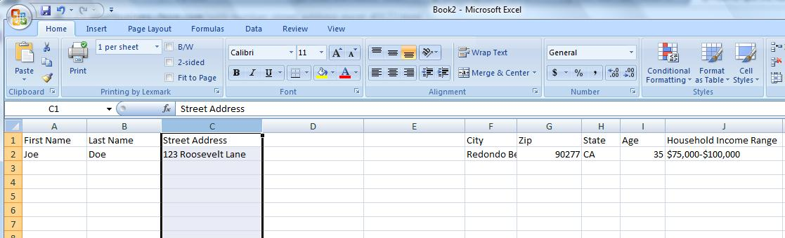 Mailing lists how to split the address column in excel