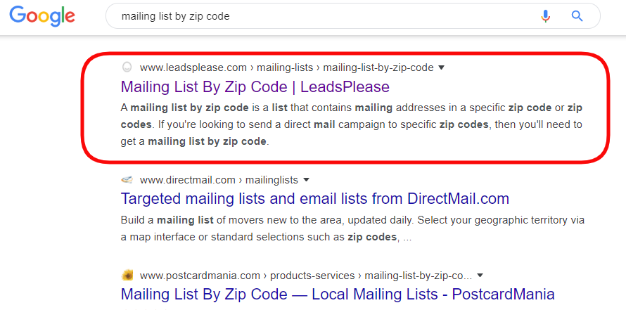 Mailing List by Zip Code